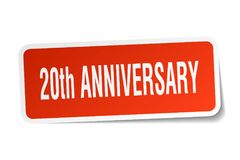 20th anniversary sticker. 20th anniversary square sticker isolated on white background. 20th anniversary Royalty Free Stock Photo