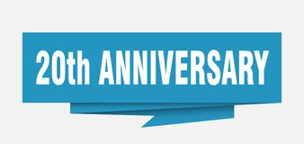 20th anniversary. Sign.  paper origami speech bubble.  tag.  banner stock illustration