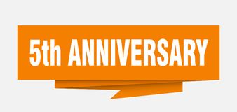 5th anniversary. Sign.  paper origami speech bubble.  tag.  banner royalty free illustration