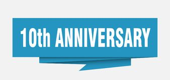 10th anniversary. Sign.  paper origami speech bubble.  tag.  banner Royalty Free Illustration