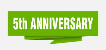 5th anniversary. Sign.  paper origami speech bubble.  tag.  banner stock illustration
