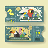 10th anniversary ticket design template for zoo. Adorable 10th anniversary ticket design template for zoo Royalty Free Stock Images