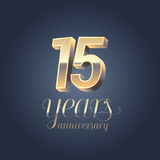 15th anniversary vector icon, logo. Gold color graphic design element for 15 years anniversary birthday banner Stock Image