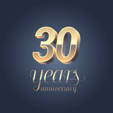 30th anniversary vector icon, logo. Gold color graphic design element for 30 years anniversary birthday banner Stock Photo
