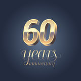 60th anniversary vector icon, logo. Gold color graphic design element for 60 years anniversary birthday banner Stock Photos