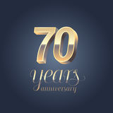 70th anniversary vector icon, logo Stock Image