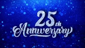 25th Anniversary Wishes Blue Glitter Sparkling Dust Blinking Particles Looped