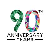 90th anniversary years abstract triangle modern full col. Or. celebration logo vector royalty free illustration