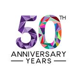 50th anniversary years abstract triangle modern full col. Or. celebration logo vector Royalty Free Illustration