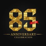 85th anniversary years celebration logotype. Logo ribbon gold number and red ribbon on black background. Numbers style gold foil for logo, anniversary and etc vector illustration