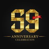 59th anniversary years celebration logotype. Logo ribbon gold number and red ribbon on black background. Numbers style gold foil for logo, anniversary and etc vector illustration
