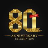 80th anniversary years celebration logotype. Logo ribbon gold number and red ribbon on black background. Numbers style gold foil for logo, anniversary and etc royalty free illustration