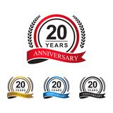 20th anniversary years circle ribbon vector illustration
