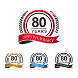 80th anniversary years circle ribbon. Laurel wreath. celebration logo vector red, blue, gold, black color stock illustration