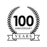 100th anniversary years laurel wreath retro black color. Celebration logo vector stock illustration