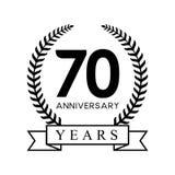 70th anniversary years laurel wreath retro black color Stock Photos