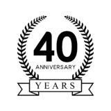 40th anniversary years laurel wreath retro black color Royalty Free Stock Photography