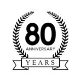 80th anniversary years laurel wreath retro black color. Celebration logo vector royalty free illustration