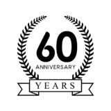 60th anniversary years laurel wreath retro black color Royalty Free Stock Photography