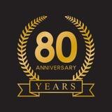 80th anniversary years laurel wreath retro gold color. Celebration logo vector royalty free illustration