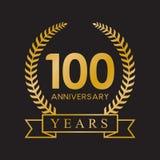 100th anniversary years laurel wreath retro gold color. Celebration logo vector royalty free illustration