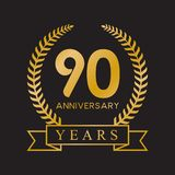 90th anniversary years laurel wreath retro gold color. Celebration logo vector royalty free illustration