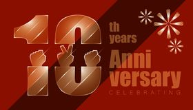 10th anniversay. luxury character inside with elements of hand and threee firework. vector illustration eps10. 10th anniversay. luxury character inside with royalty free illustration