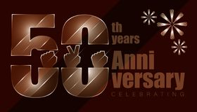 50th anniversay. luxury character inside with elements of hand and threee firework. vector illustration eps10. 50th anniversay. luxury character inside with stock illustration