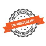 5th anniverssary stamp illustration Stock Photography