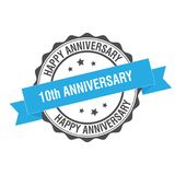 10th anniverssary stamp illustration. 10th anniversary stamp seal illustration design stock illustration
