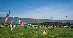 19th Annual Blue Ridge Kite Festival. Salem, Virginia, USA – April 15th: 19th Annual Blue Ridge Kite Festival at Green Hill Park located in Salem royalty free stock image