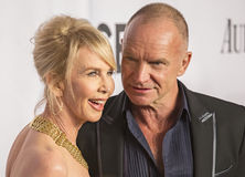 68th Annual Tony Awards. English actress and producer Trudie Styler and husband, musician/rock star/singer and fellow Brit, Sting, arrive on the red carpet at Royalty Free Stock Photography