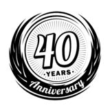 40 year anniversary. Elegant anniversary design. 40th logo. 40 years anniversary celebration design template. Forty years celebrating vector and illustration stock illustration
