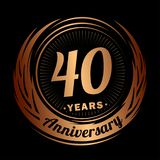 40 year anniversary. Elegant anniversary design. 40th logo. 40 years anniversary celebration design template. Forty years celebrating vector and illustration royalty free illustration