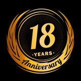 18 years anniversary. Elegant anniversary design. 18th logo. stock illustration
