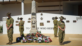 100th Anzac Day celebration. A solemn celebration of the 100th Anzac Day in Australia held last April of 2015 stock photo