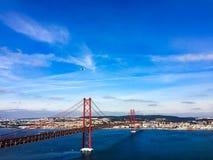 25th of April Bridge in Lisabon, panoramic view. 25th of April Bridge against blue sky in Lisabon, panoramic view stock image