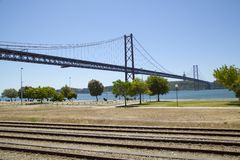 The 25th April bridge in Lisbon Royalty Free Stock Image
