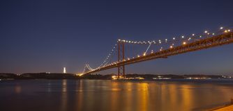 The 25th April bridge in Lisbon at night Royalty Free Stock Photo