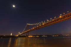 The 25th April bridge in Lisbon at night Stock Image