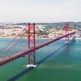 25th of April Bridge in Lisbon. Panorama. 25th of April Bridge in Lisbon. Panoramic view of Lisbon, the Tagus River and Bridge from the National Sanctuary of Stock Image