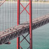 25th of April Bridge in Lisbon. Panorama. 25th of April Bridge in Lisbon. Panoramic view of Lisbon, the Tagus River and Bridge from the National Sanctuary of Royalty Free Stock Image