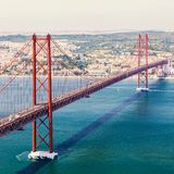 25th of April Bridge in Lisbon. Panorama. 25th of April Bridge in Lisbon. Panoramic view of Lisbon, the Tagus River and Bridge from the National Sanctuary of Royalty Free Stock Photos