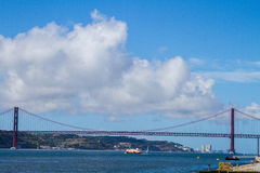 The 25th of April Bridge in Lisbon, Portugal. Daytime Royalty Free Stock Photo