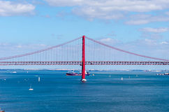 25th april bridge in lisbon, portugal Royalty Free Stock Photo