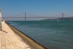 25th April Bridge in Lisbon, Portugal. 25th April Bridge in Lisbon over the Tagus River, Portugal Stock Photo