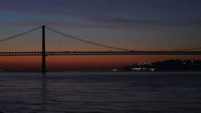 The 25th of April Bridge in Lisbon, Portugal stock video footage