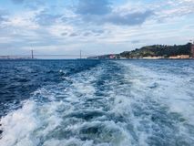 25th april bridge in Lisbon. View from a ferry royalty free stock images