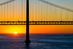 25th of April bridge at the morning Royalty Free Stock Images