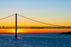 25th of April bridge at sunrise Royalty Free Stock Image